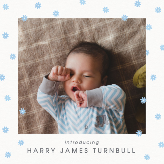 Blue Daisy Scatter | Personalised Birth Announcement