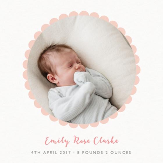Blush Scallop Border | Personalised Birth Announcement