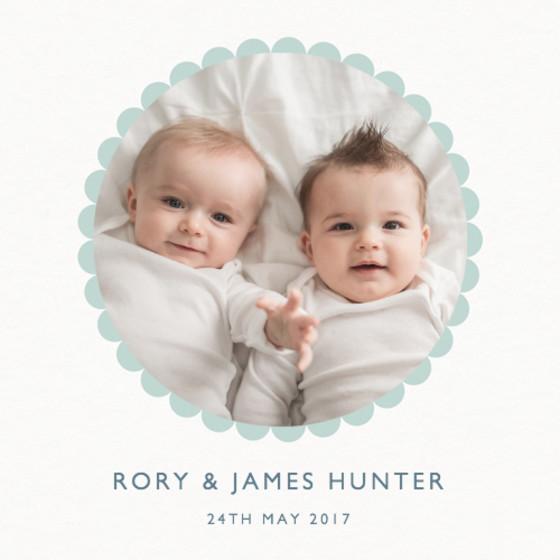 Mint Scallop Border | Personalised Birth Announcement