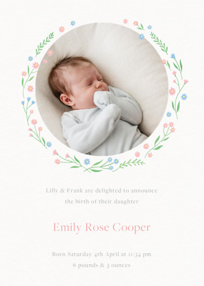 Ditsy Daisy Chain | Personalised Birth Announcement