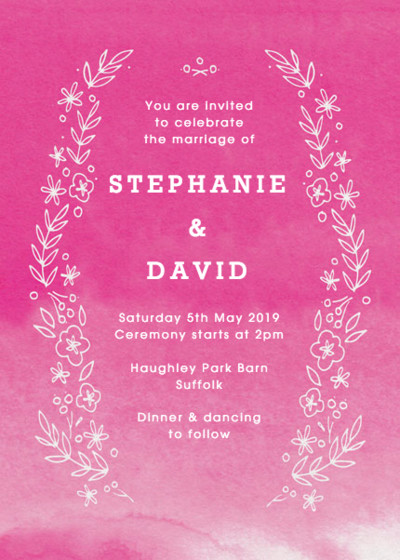 Fuchsia Blooms | Personalised Wedding Invitation