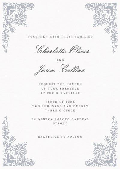 Rococo Silver | Personalised Wedding Invitation