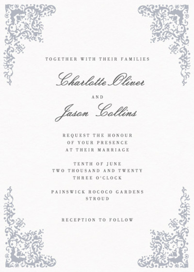 Rococo Silver | Personalised Wedding Invitation