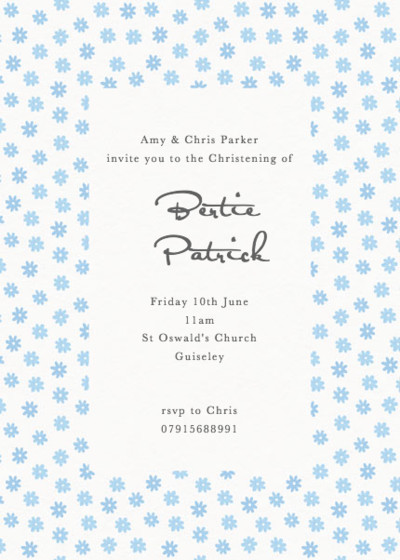 Blue Daisy Border | Personalised Christening Invitation