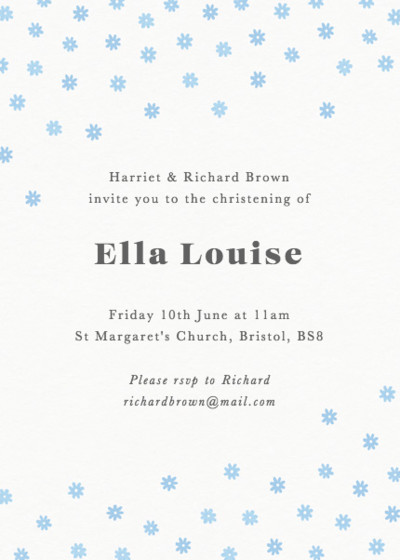 Blue Daisy Scatter | Personalised Christening Invitation