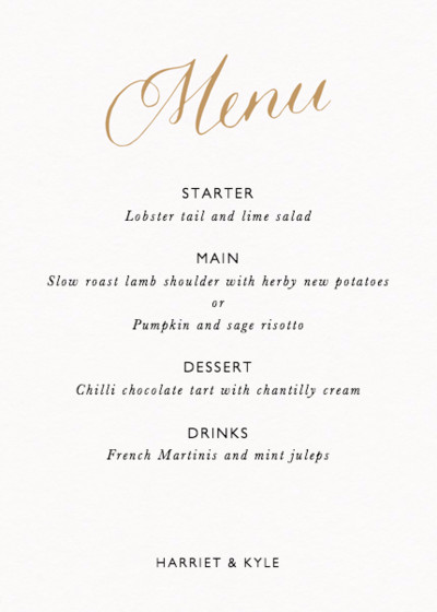 Calligraphy Menu Gold | Personalised Menu