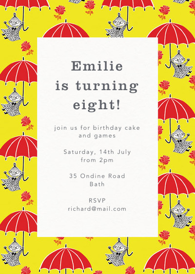 Little My With Umbrella | Personalised Party Invitation