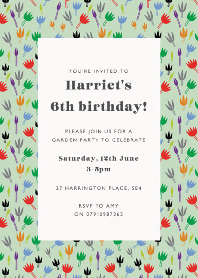 Moominvalley Flowers | Personalised Party Invitation