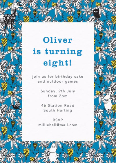 Moomin Vines Blue | Personalised Party Invitation