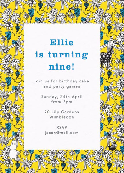 Moomin Vines Yellow | Personalised Party Invitation