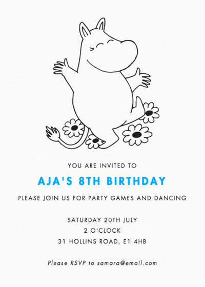 Happy Moomintroll | Personalised Party Invitation