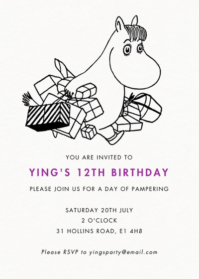 Snorkmaiden With Presents | Personalised Party Invitation