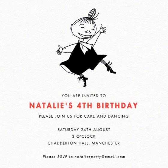 Dancing Little My | Personalised Party Invitation