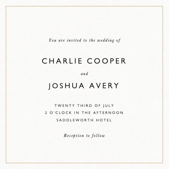 Classic Thin Border Gold | Personalised Wedding Invitation