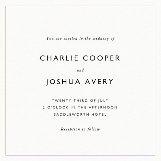 Classic Thin Border Gold | Personalised Wedding Invitation