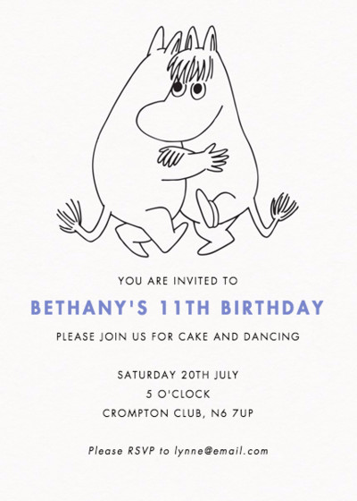 Moomin Dance Party | Personalised Party Invitation