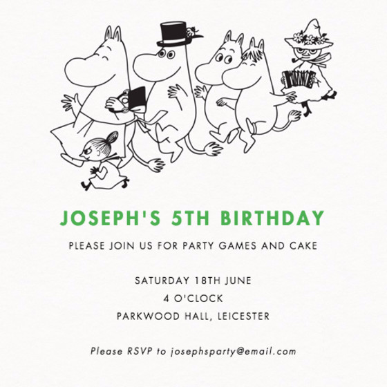 Moomin Party | Personalised Party Invitation