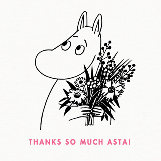 Moomintroll With Flowers | Personalised Thank You Card