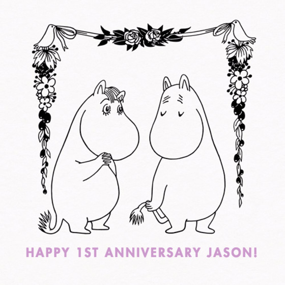 Moomintroll & Snorkmaiden | Personalised Congratulations Card