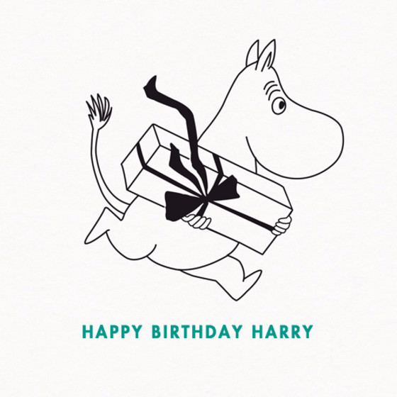 Moomintroll With Present | Personalised Birthday Card