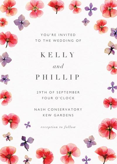 Hydrangeas & Geraniums | Personalised Wedding Invitation