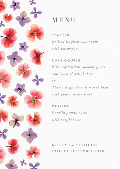 Hydrangeas & Geraniums | Personalised Menu