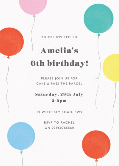 Party Balloons | Personalised Party Invitation