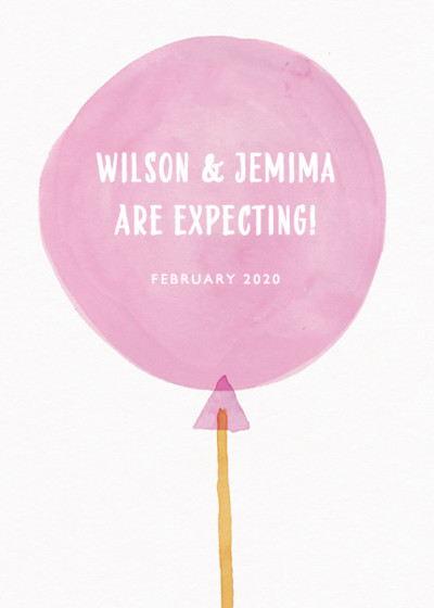 It's A Girl Balloon | Personalised Announcement Card