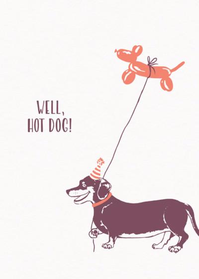 Dachshund & Hot Dog Balloon   Personalised Birthday Card