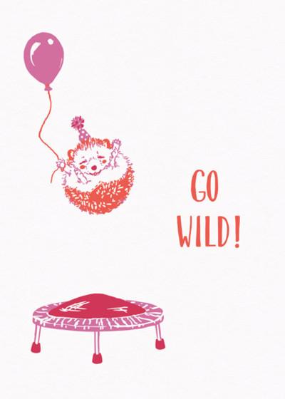 Trampolining Hedgehog | Personalised Birthday Card
