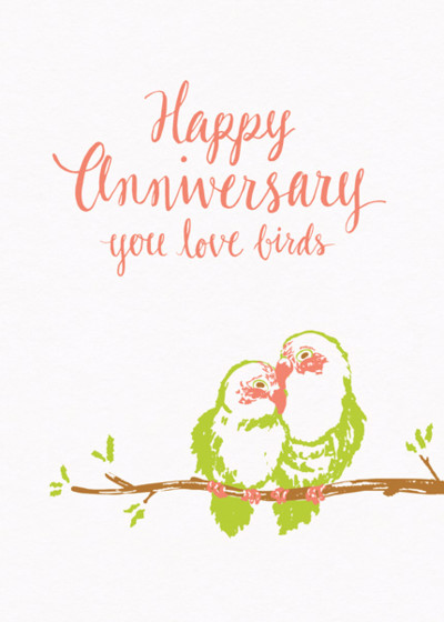 Anniversary Love Birds | Personalised Congratulations Card