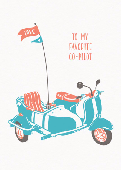Vespa And Sidecar | Personalised Greeting Card