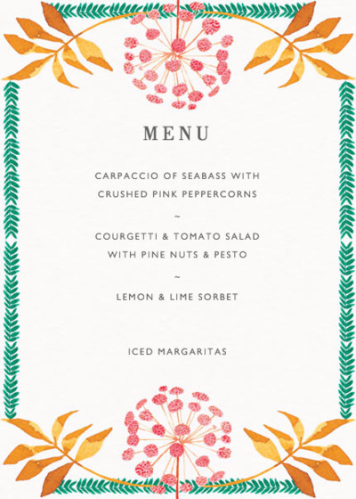 Pink Allium | Personalised Menu