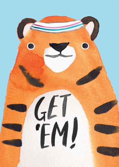 Get 'Em Tiger | Personalised Good Luck Card
