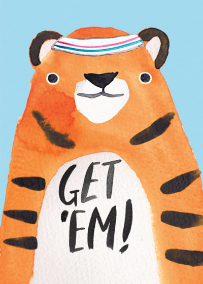 Get 'Em Tiger | Personalised Good Luck Card