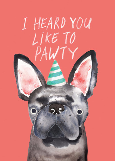 Pawty Frenchie | Personalised Birthday Card