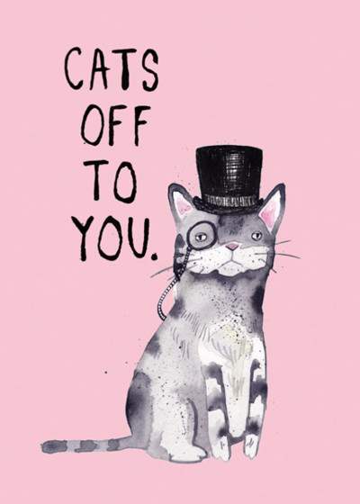 Cats Off To You   Personalised Congratulations Card