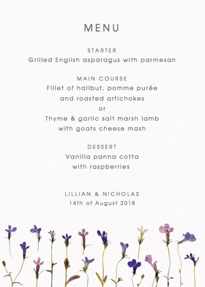 Lobelia | Personalised Menu