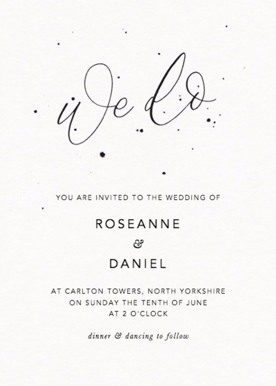 We Do Speckle | Personalised Wedding Invitation