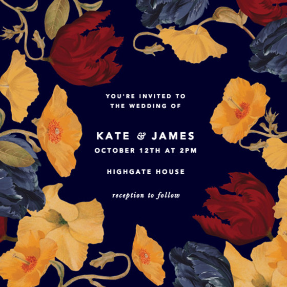 Amber Tulip   Personalised Wedding Invitation