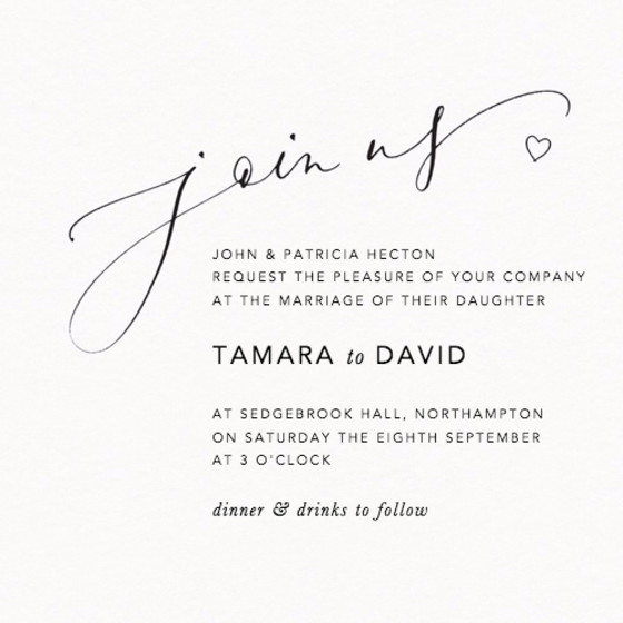 Join Us Love Heart | Personalised Wedding Invitation