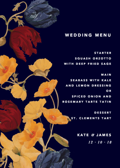 Amber Tulip | Personalised Menu