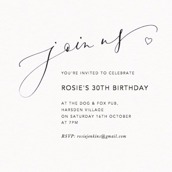 Join Us Love Heart | Personalised Party Invitation