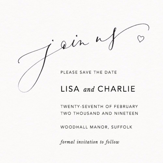 Join Us Love Heart | Personalised Save The Date