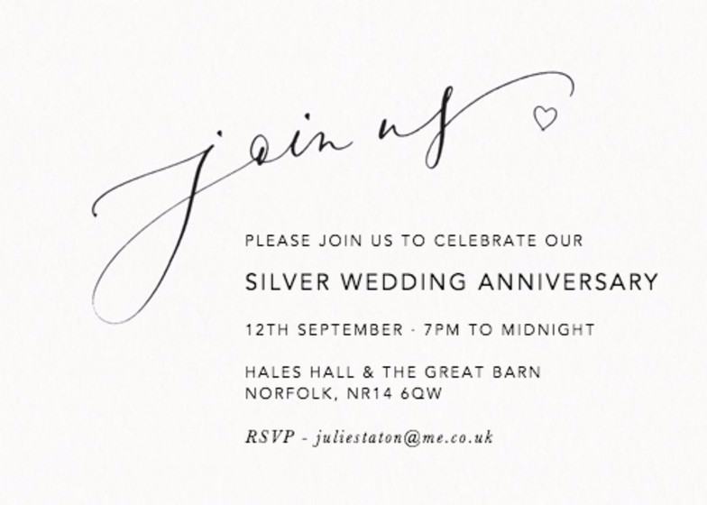 Join Us Love Heart | Personalised Anniversary Invitation