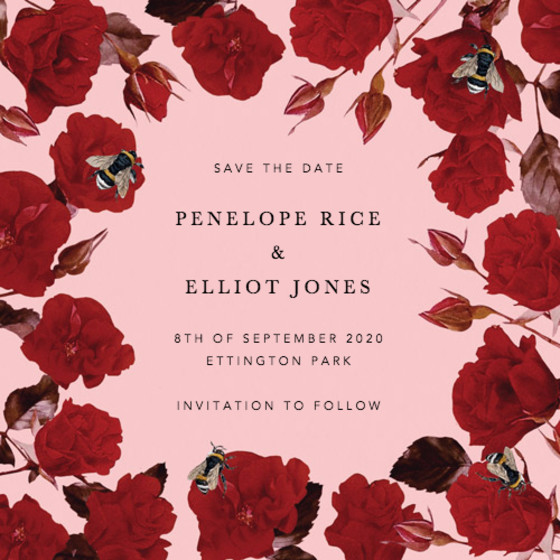 Scarlet Rose | Personalised Save The Date