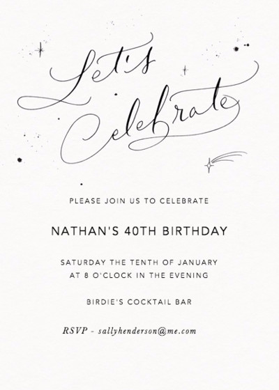 Let's Celebrate Starry | Personalised Party Invitation
