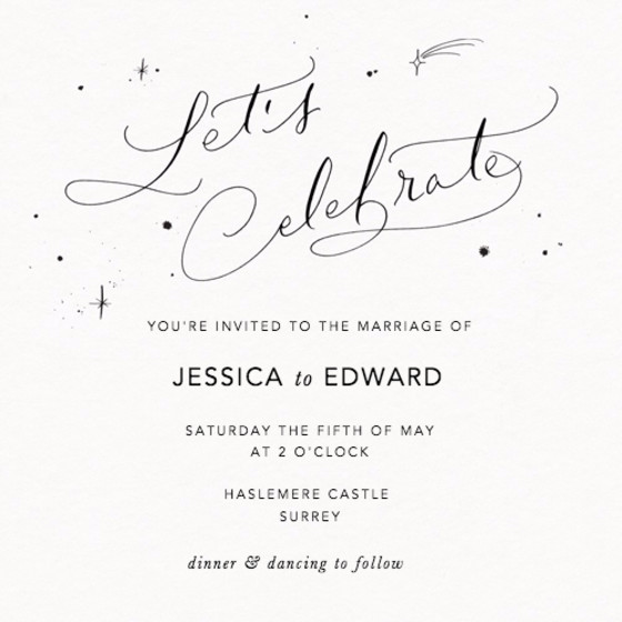 Let's Celebrate Starry | Personalised Wedding Invitation