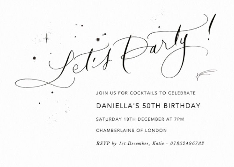 Let's Party Starry | Personalised Party Invitation