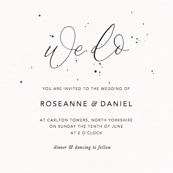 We Do Speckle   Personalised Wedding Invitation